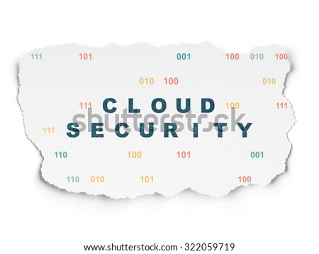 Protection concept: Painted blue text Cloud Security on Torn Paper background with  Binary Code