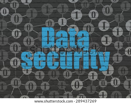 Protection concept: Painted blue text Data Security on Black Brick wall background with Scheme Of Binary Code - stock photo