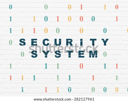 Protection concept: Painted blue text Security System on White Brick wall background with Binary Code, 3d render - stock photo