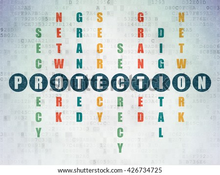 Protection concept: Painted blue word Protection in solving Crossword Puzzle on Digital Data Paper background - stock photo