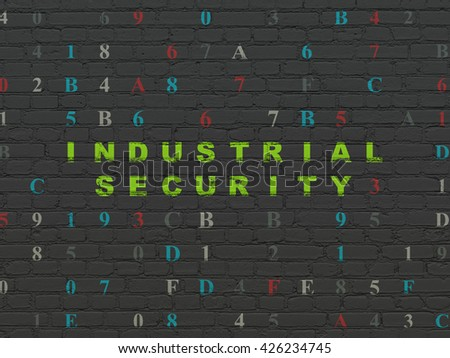 Protection concept: Painted green text Industrial Security on Black Brick wall background with Hexadecimal Code