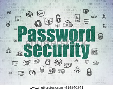 Protection concept: Painted green text Password Security on Digital Data Paper background with  Hand Drawn Security Icons
