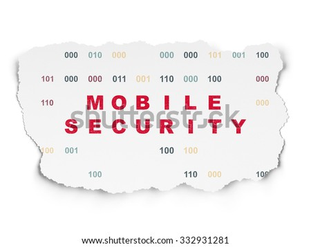 Protection concept: Painted red text Mobile Security on Torn Paper background with  Binary Code