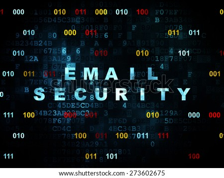 Protection concept: Pixelated blue text Email Security on Digital wall background with Binary Code, 3d render - stock photo