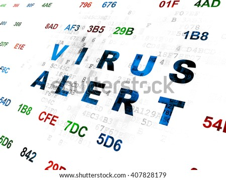 Protection concept: Pixelated blue text Virus Alert on Digital wall background with Hexadecimal Code