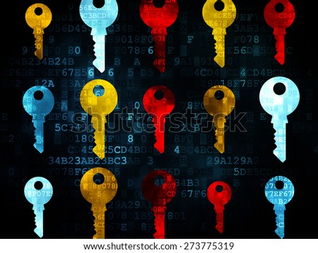 Protection concept: Pixelated multicolor Key icons on Digital background, 3d render - stock photo