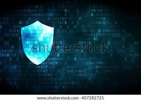 Protection concept: pixelated Shield icon on digital background, empty copyspace for card, text, advertising - stock photo