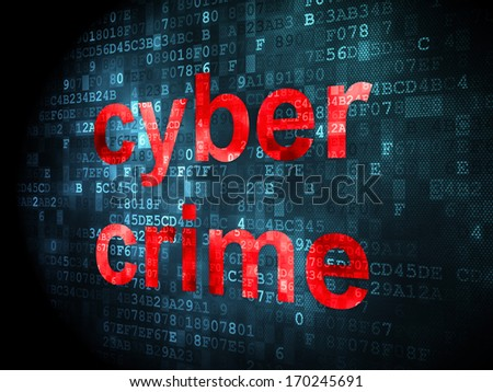 Protection concept: pixelated words Cyber Crime on digital background, 3d render