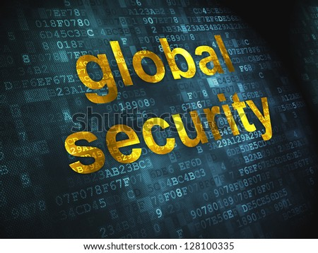 Protection concept: pixelated words Global Security on digital background, 3d render