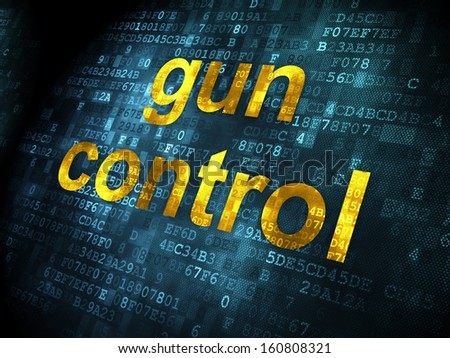 Protection concept: pixelated words Gun Control on digital background, 3d render