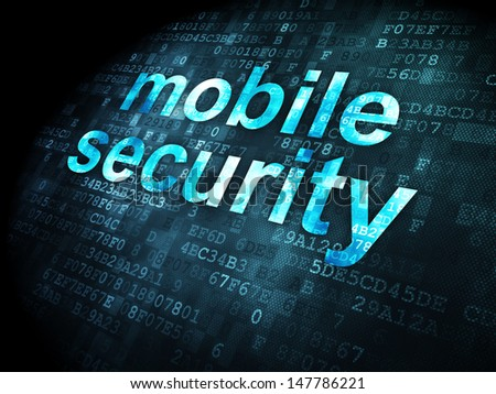 Protection concept: pixelated words Mobile Security on digital background, 3d render - stock photo