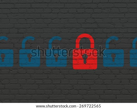 Protection concept: row of Painted blue opened padlock icons around red closed padlock icon on Black Brick wall background, 3d render - stock photo