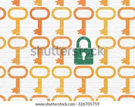 Protection concept: rows of Painted orange key icons around green closed padlock icon on White Brick wall background - stock photo