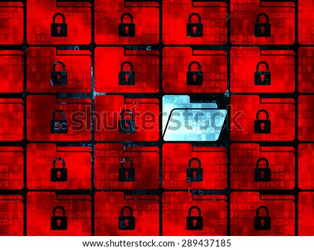 Protection concept: rows of Pixelated red folder with lock icons around blue folder icon on Digital background - stock photo