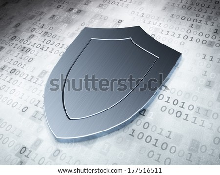 Protection concept: Silver Shield on digital background, 3d render - stock photo