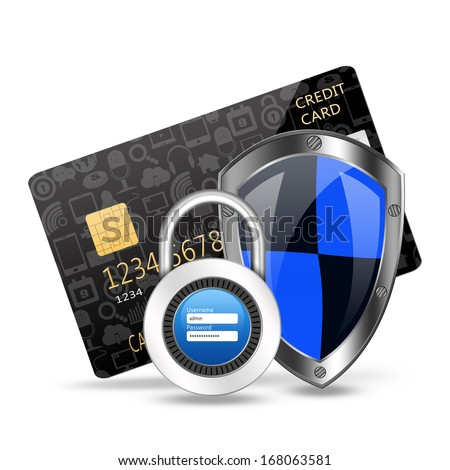 protection concept with padlock on creditcard - stock photo