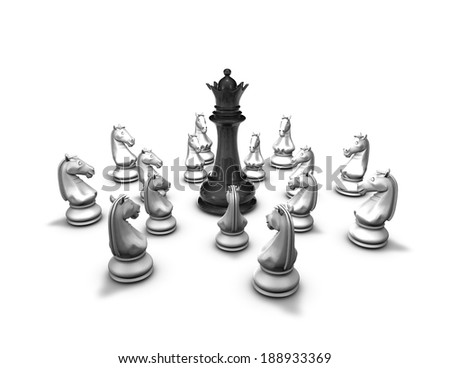 protection, conflict concept with chess pieces and black queen figure, illustration isolated on white - stock photo