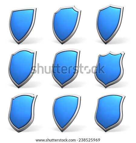Protection, defense and security concept symbol: blue shield isolated on white background collection set - stock photo