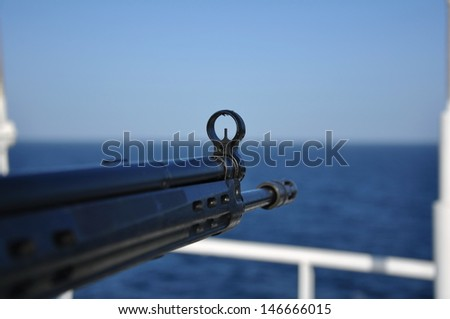 protection from pirates in aden bay - stock photo