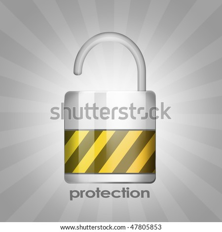 Protection metallic lock with gray background - stock photo