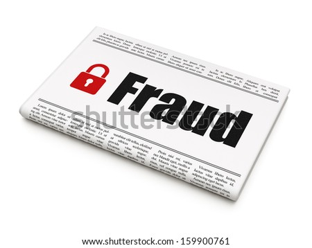 Protection news concept: newspaper headline Fraud and Closed Padlock icon on White background, 3d render - stock photo