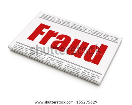 Protection news concept: newspaper headline Fraud on White background, 3d render - stock photo