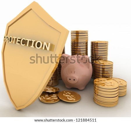 protection of finance. 3d  illustration on white background - stock photo