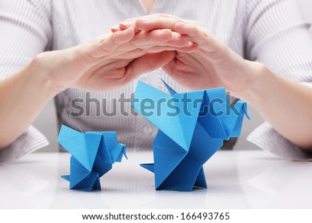 Protection of wild animals (concept) - stock photo