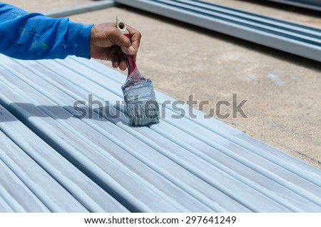 Protection steel paint. - stock photo
