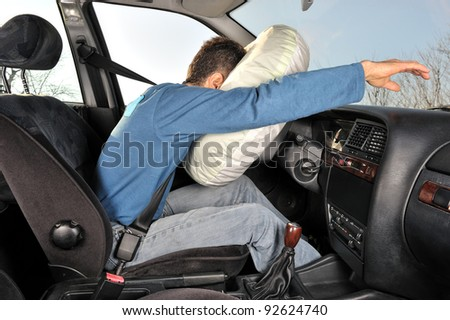 protection system for car drivers accident - stock photo