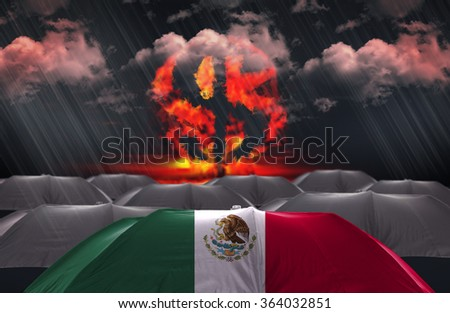 Protection Umbrella with flag of Mexico on a money war background - stock photo