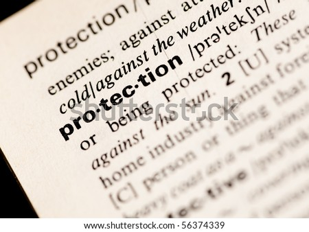 protection word closeup - stock photo
