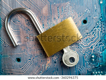 Protection your system from hacker information data. - stock photo