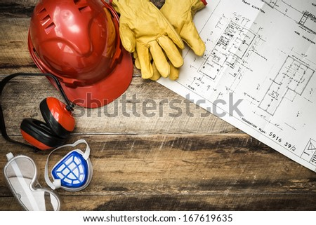 Protective clothing with plans - stock photo