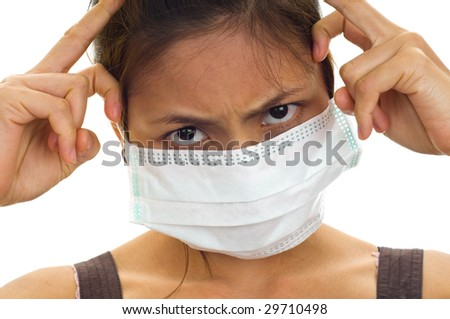 protective face mask on an attractive young Asian woman, isolated on white - stock photo