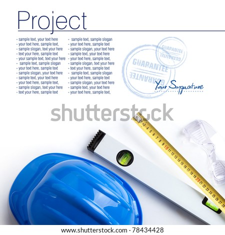 protective gloves and measure isolated on white background. Space for text isolated on solid white - stock photo