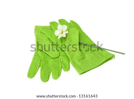 protective gloves pique with clipping path isolated on white - stock photo