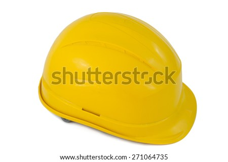 Protective hard hat isolated on white background - stock photo