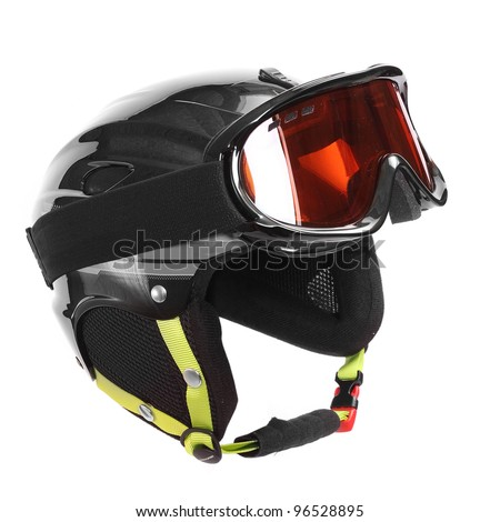 Protective helmet with goggles for skiing, snowboarding and others winter sports on a white background. - stock photo