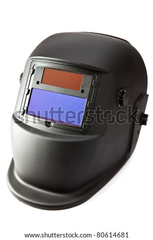 Protective mask of the welder on a white background - stock photo