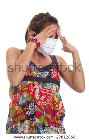 protective mask on young asian woman, isolated on white - stock photo