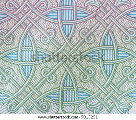 Protective pattern from 1000 roubles bank note macro - stock photo