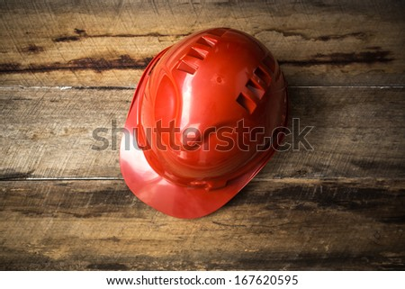 Protective Red Hard Hat - stock photo