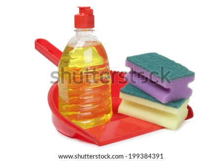 Protective rubber gloves and cleaning products on white background - stock photo