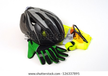 Protective Safety Equipment for Cyclists on white background - stock photo