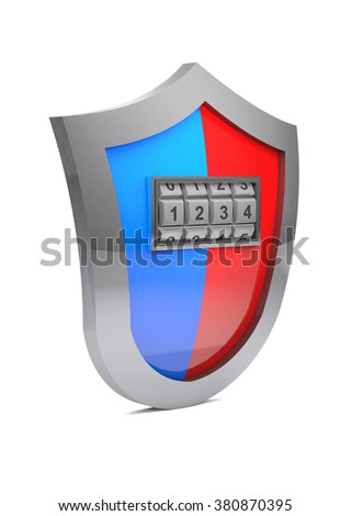 Protective shield and his breaking with the code. - stock photo