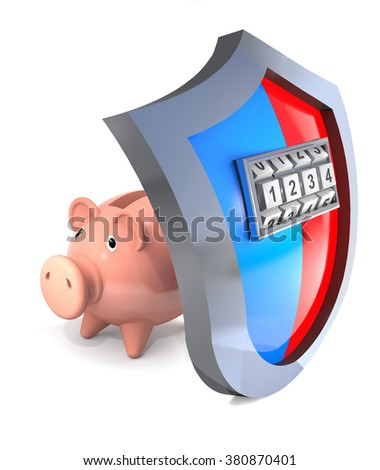 Protective shield of piggy bank and his breaking with the code. - stock photo