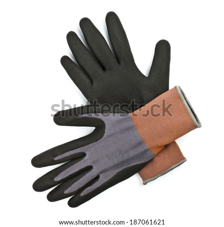 Protective work gloves, isolated over white background - stock photo