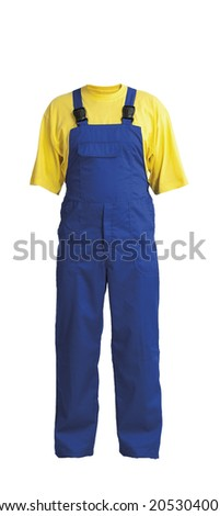 Protective work trou and yellow t-shirt, isolated on white background - stock photo