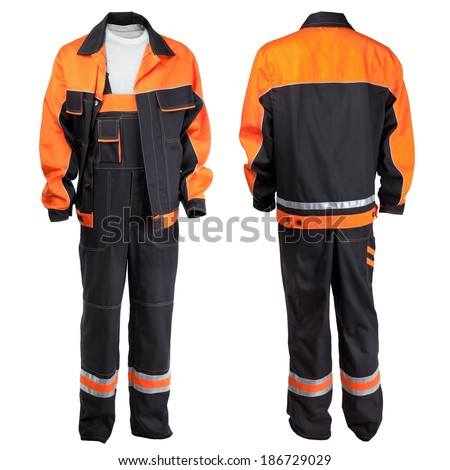 Protective worker's clothes, isolated over white background - stock photo
